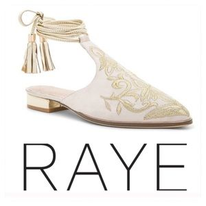 New! RAYE Kate Embroidered Slide in Nude